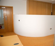 Curved partition and feature flooring
